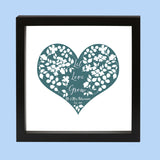 Floral Wedding Gift - Paper Cut 'Let Love Grow' Personalised Print - Ideal 1st Or 4th Anniversary