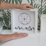Personalised Gift For Wedding Or Engagment - Wanderlust Adventure Compass Scene - With Couples Names