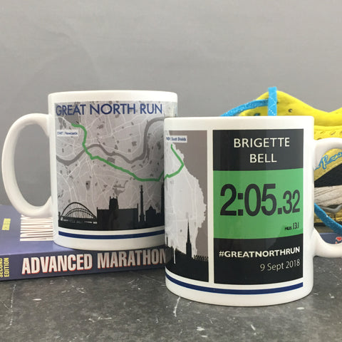 Great North Run 2018 Finishers Gift - Commemorative Mug - Route and Race Number design