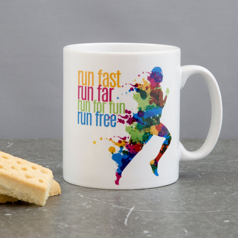 Motivational Mug Gift For Runner - 'Run Free' Rainbow Pride