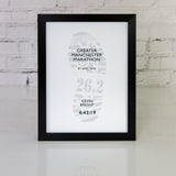 Running Race Result Personalised Poster Framed - Any Run With Name And Time - Ideal Gift For Him