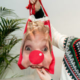 Silly Santa Sack - Your Face Or Mine Photo Print Bag - Fun Gift For Christmas Eve Elf Portrait