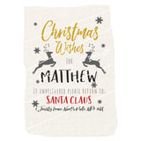 Customised Christmas Sack - Reindeer Themed With Mexicana Twist - Colourful Christmas Bag With Any Name