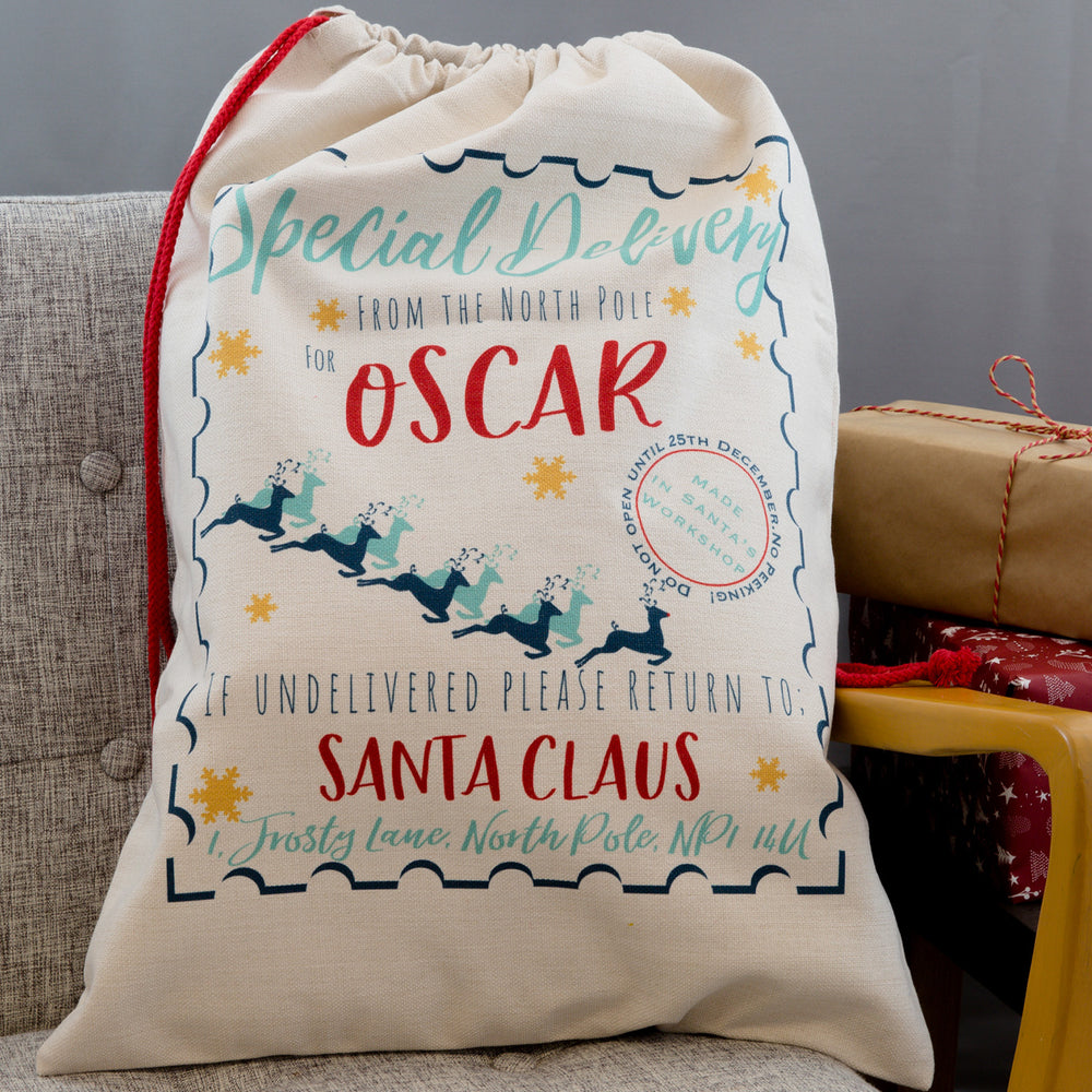 Multi-Coloured Christmas Decorative Gift Sack - Personalised With Name - Kids Teens Or Adults Santa Sack