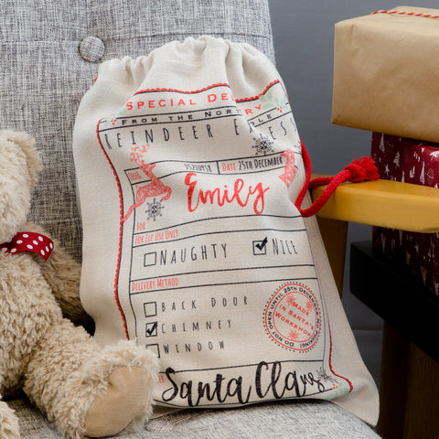 Christmas Eve Gift Box Sack - Personalised With Any Name Could Be From Elf On Shelf - Kids Christmas Gifts