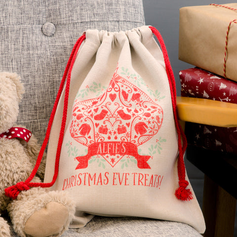 Decorative Christmas Sack - Customised For 1st Christmas Or Eve With Any Words - Kids Or Adults Gift Bag
