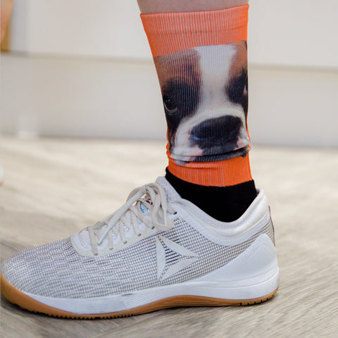Crossfit Fun Socks - Face Socks Long Crew Mid Shin - Featuring Photo Portrait Print Or Yourself Or Pet