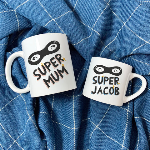 Super Hero Family Mug Set - Fun Mummy Daddy Baby Super Hero New Home Gift - Mama Papa Toddler Easter or Christmas Eve Present