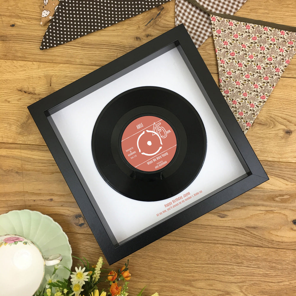 Real 7 inch Vinyl Record Framed Gift for Her