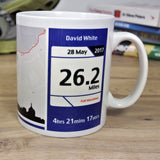 Edinburgh Marathon 2018 Finishers Gift - Commemorative Mug - Route and Race Number design