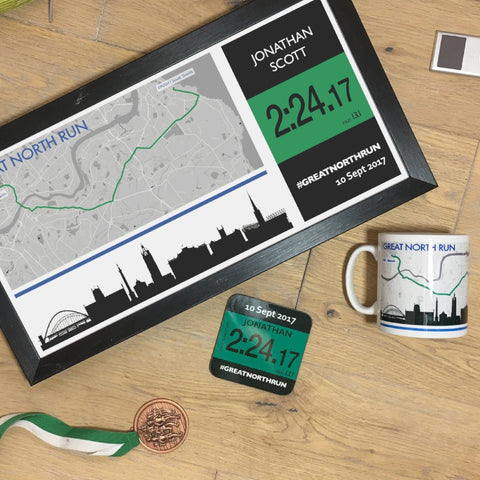 Great North Run Results 2018 - Finishers Gifts - Bundle Options - Mug, Coaster, Personalised Route Map Print