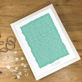 Personalised Song Lyrics, Poem or Speech Framed Typographic Print Gift - Ragged Design A5, A4 or A3