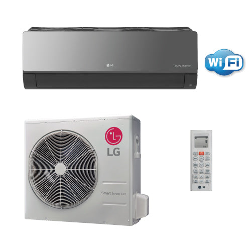 LG Art Cool Mirror 18,000 BTU 21.5 SEER Wall Mounted Heat Pump System with WiFi Built In