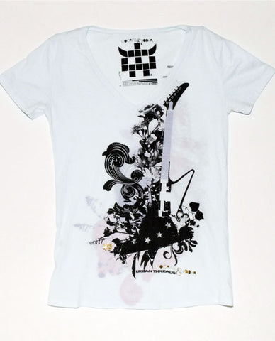 Alice Blue Floral Guitar Tee