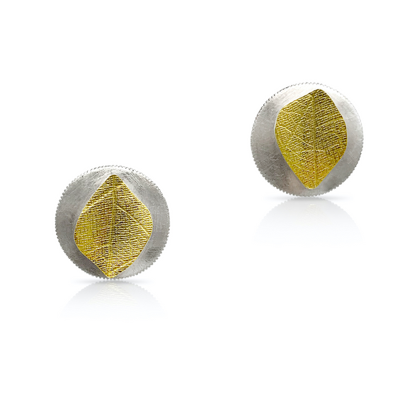 EG-Speiser-jewelry-small-post-earrings-silver-gold-bimetal-leaf-classic-textured-handmade-handcrafted-artisan.jpg