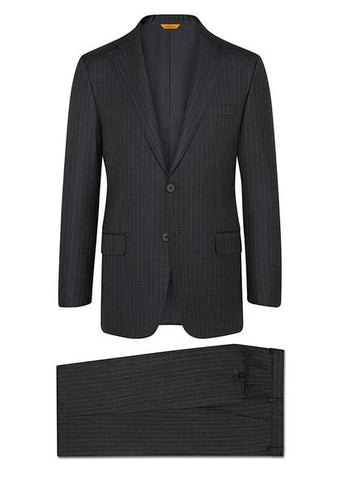 Hickey Freeman - CHARCOAL STRIPE TASMANIAN SUIT: B FIT