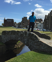 Ben on the Swilcan Bridge in St. Andrews
