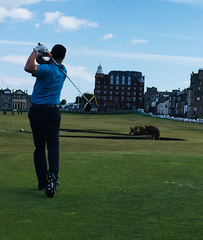 Ben on the 18th hole at the Old Course in St. Andrews
