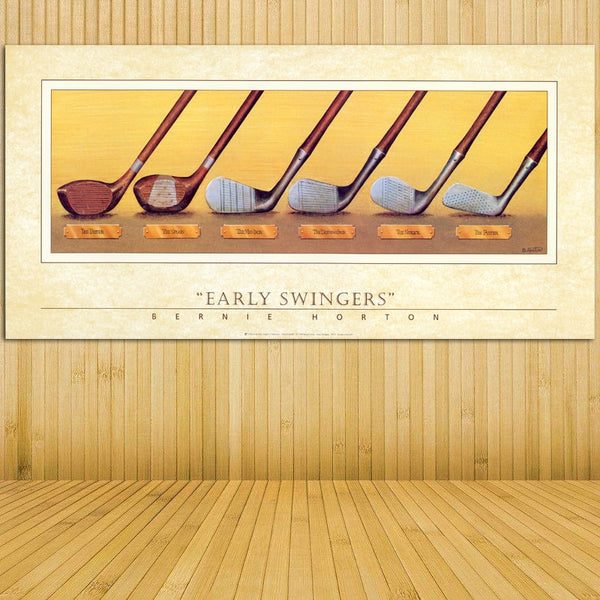 Early Swingers Retro Golf Club Wall Art