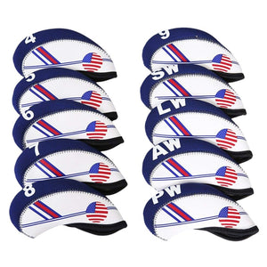 American Flag Waterproof Club Head Covers 4-9 Iron, PW, SW, AW, LW