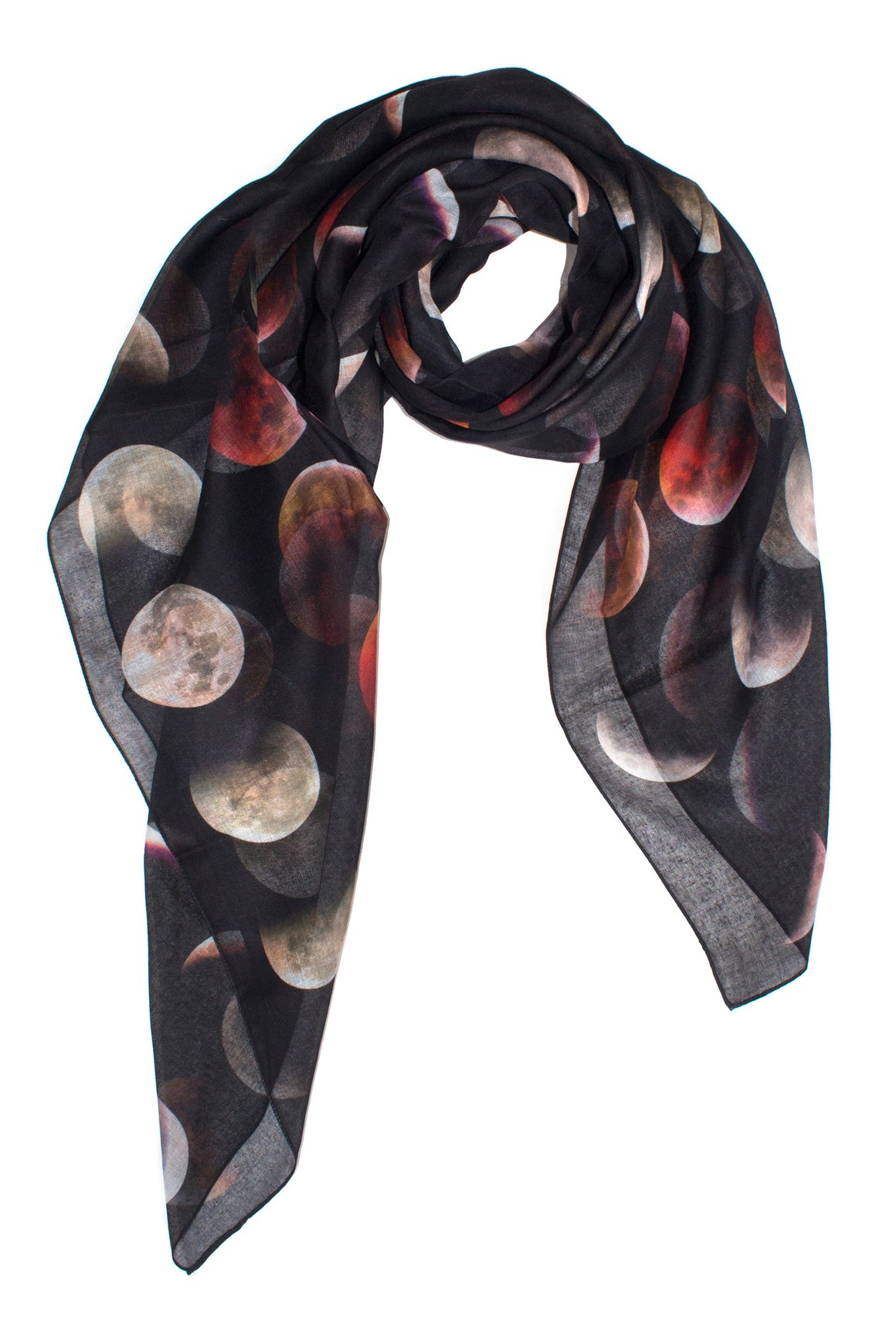 Blood Moon Phase Scarf, Shadowplay New York, Galaxy Print Clothing