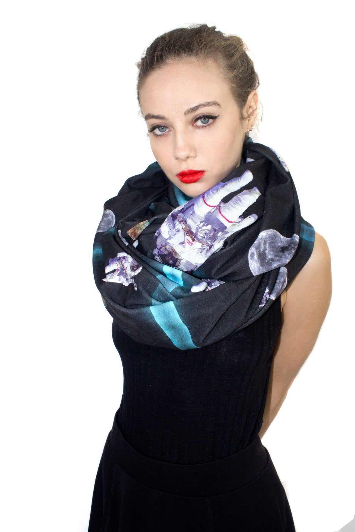 Astronaut Circle Scarf, Shadowplay New York, Galaxy Print Clothing
