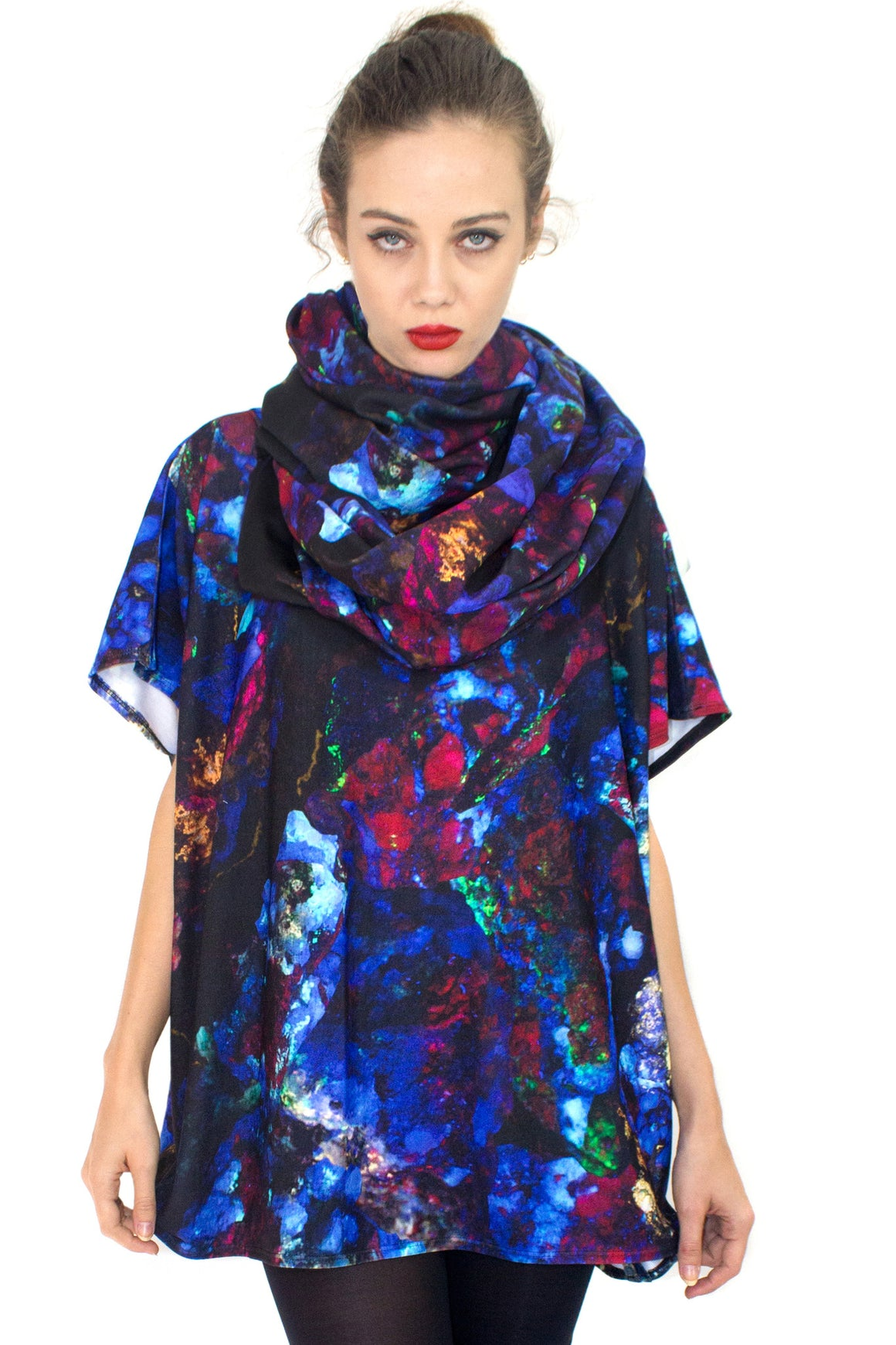 Fluorescent Circle Scarf, Shadowplay New York, Galaxy Print Clothing