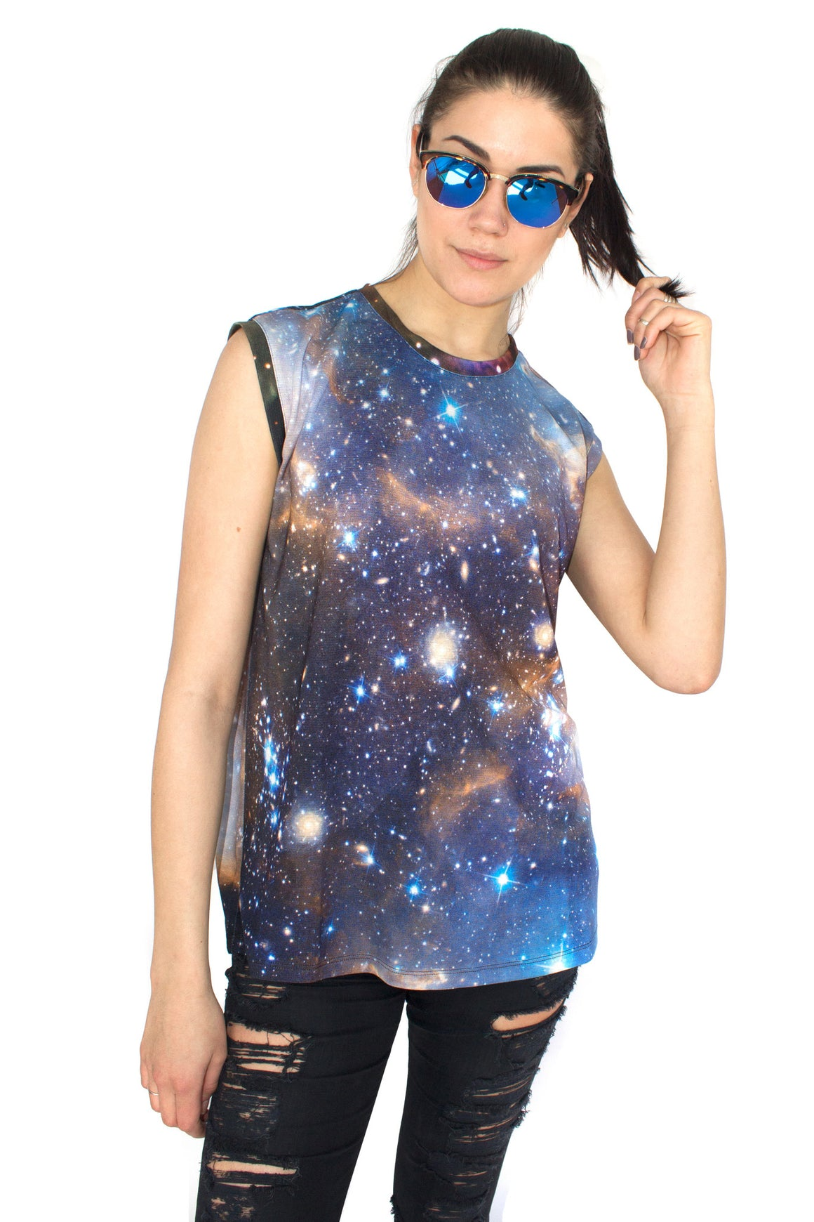 Sagan Galaxy Tank, Shadowplaynyc, Galaxy Print Clothing