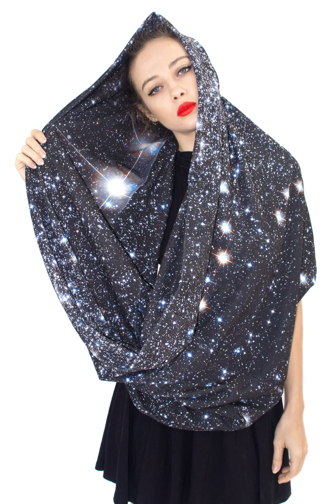 Star Cluster Galaxy Scarf, Shadowplay New York, Galaxy Print Clothing