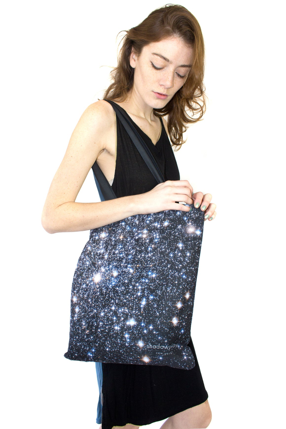 Star Cluster Tote, Shadowplay New York, Galaxy Print Clothing