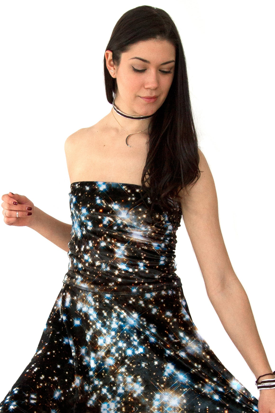Starry Night Galaxy Dress Skirt, Galaxy Print Clothing, Shadowplaynyc