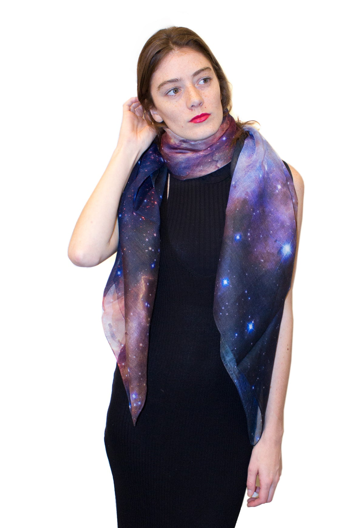 westerlund galaxy scarf, shadowplay new york, galaxy print clothing