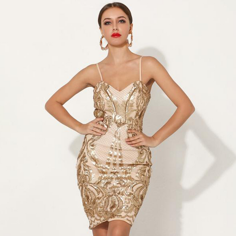 Sheath gold color, elegant and sexy women's cocktail dress