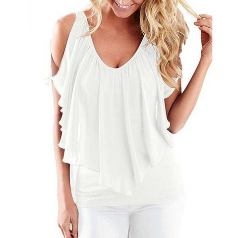 White cold shoulder, flowy women's blouse
