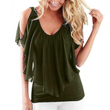 Green ruffle cold shoulder v-neck, flowy, spring, summer women's blouse