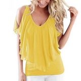 Women's yellow blouse. Cold shoulder, flowy, ruffle, v-neck design