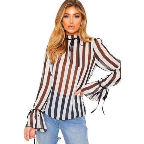 flare sleeve, white with black stripes sexy women's blouse