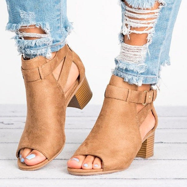 Buckle Strap Open Toe Ankle Boots
