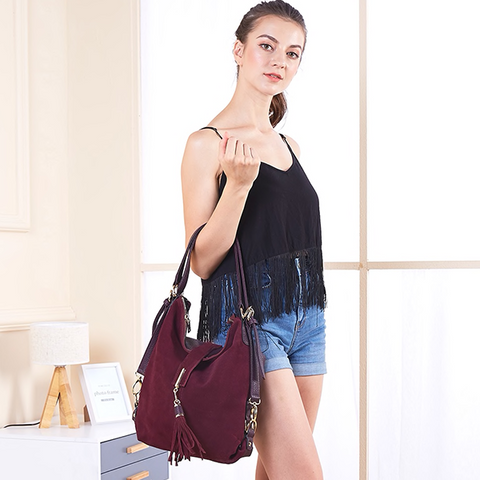 Maroon color, real suede and organic cotton women's shoulder bag