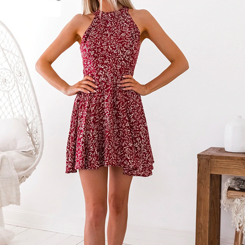 crimson color, floral print above the knee women's dress