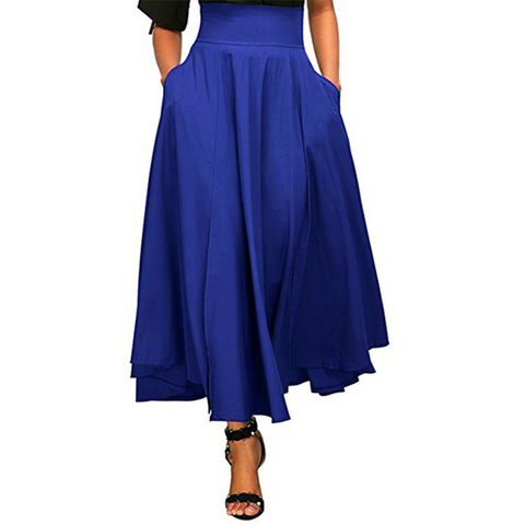blue, ankle-length a-line skirt. Falda larga color azul