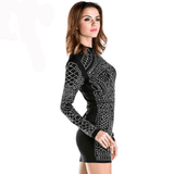 Geometric Rhinestone Bodycon Dress