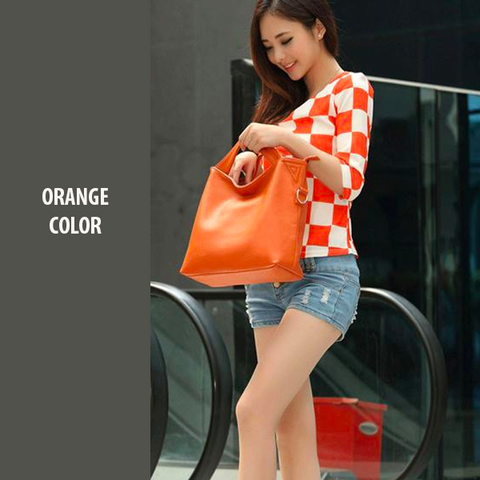 orange, vintage women's tote