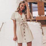 Casual, beautiful, cute, above the knee beige color dress. With buttons, sleeveless, a-line