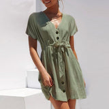 Light green beautiful spring or summer dress. Short with buttons v-neck, casual sleeveless