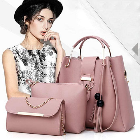 Pink 3 piece women's bag set