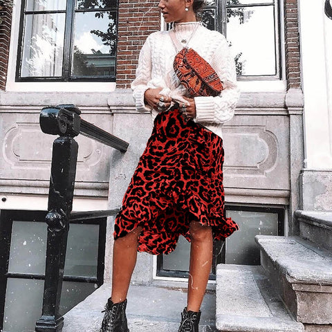 Vintage Pleaded Animal Print Skirt
