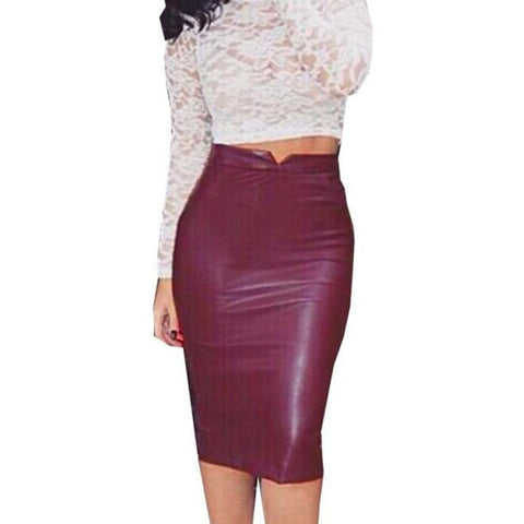 Knee-Length High Waisted Faux Leather Skirt