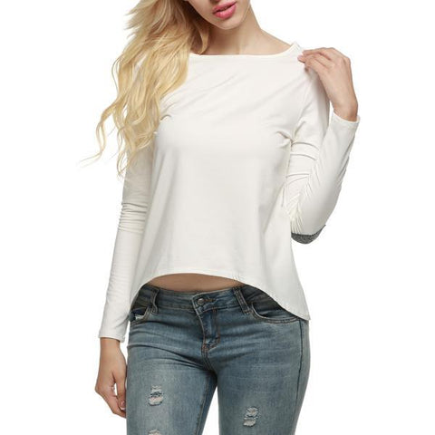 Long sleeves, women's o-neck white blouse