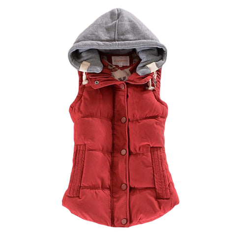 Button Hooded Red Vest